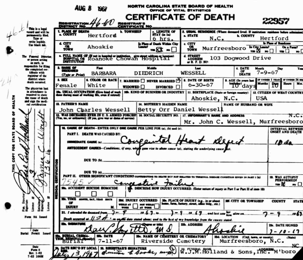 betty orr daniel wessell  death certificate for barbara diedrich wessell