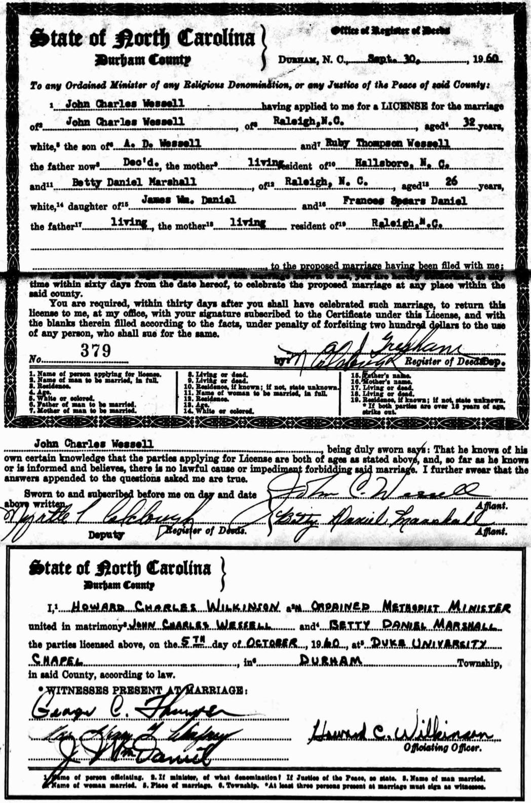 betty orr daniel wessell  marriage license betty orr daniel lawing and john charles wessell