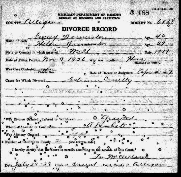 Divorce Records Search For: Emery Otis Denniston, B. 1880